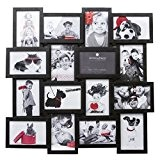 Cadre photo pêle-mêle mural capacité 16 photos - coloris noir où blanc
