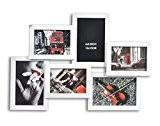 Cadre photo pêle-mêle mural coloris BLANC capacité 6 photos