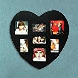 Cadre photo pêle-mêle mural, en bois, coeur, noir, amour, design, pas cher, 30x30, capacité : 7 photos, fantaisie