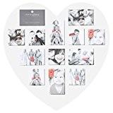 Cadre photo pêle-mêle mural forme cœur coloris blanc capacité 13 photos