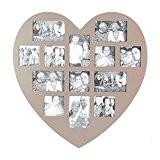 Cadre photo pêle-mêle mural forme cœur coloris taupe capacité 13 photos