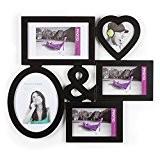 Cadre photo pêle-mêle mural LOVE coloris noir capacité 5 photos