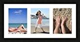 Cadres photos pêle mêle multivues 3 photo(s) 15x20 Passe Partout, Cadre photo mural 55x25 cm Noir, 3 cm de largeur