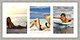 Cadres photos pêle mêle multivues Super Blanc 3 photo(s) 30x40 Passe Partout, Cadre photo mural 105x50 cm Taupe, 3.5 cm ...