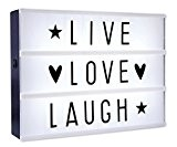 Caisson lumineux LED lightbox - Live, Love, Laugh (30cm x 22cm)