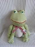 Cale porte petite grenouille rayée blanche et verte