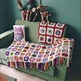 Campagne nordique fait à la main tissé au crochet, couverture en tricot Serviette de tapis, canapé, Coussin de canapé, fleur ...