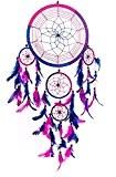 Capteur de rêves ~ la main traditionnel bleu royal, rose & violet de 22 cm de diamètre et 60cm de ...