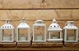 Carousel Home Lot de 5 lanternes en métal pour bougies chauffe-plat Crème