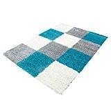 Carpetfine: Tapis Shaggy Spirit Turquoise 120x170 cm - Polypropylène - Damier - Noué machine