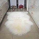 Carpette Tapis Peau de Mouton Tapis en Fourrure Synthetique, 80*120CM, Blanc
