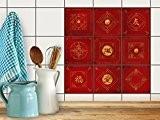 Carrelage adhésif mural - Autocollant Stickers pour Carreaux ciment de Cuisine et Salle de Bain | Revêtement mural adhésif - ...
