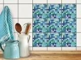 Carrelage adhésif mural | Autocollants pour carreaux de ciment - Décorer cuisine - mosaique salle de bain | Rénover dosseret| ...