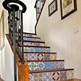 Carrelage Adhésif pour Escalier Motif Portugais (Pack avec 24) (15 x 15 cm)