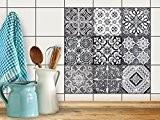Carrelage Autocollant Sticker | Décoration autocollante - Renovation intérieur et extérieur | Motif Black n White | 10x10 cm (9 ...