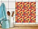 Carrelage mosaique adhésif | Autocollant carreau ciment - Décoration pour muraux de salle de bain et cuisine | Moderniser credence ...