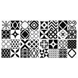 Carrelage Mural Adhésif (Gel O - technologie brevetée) - 23x23cm - Vintage noir et blanc