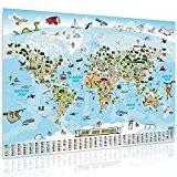 Carte du monde pour les enfants XXL panoramique–140x 100cm pour enfant Carte du monde complet handgezeichnet et koloriert