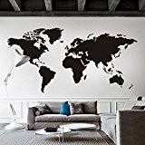 Carte du monde sticker mural amovible en vinyle Motif carte carte Décoration Murale Carte du Monde Sticker mural Salon Art ...