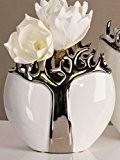 Casablanca Vase en céramique avec design arbre en métal Ouverture ovale Blanc/argenté Hauteur 21 cm Largeur 9 cm