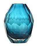 CASAMOTION Diamant Couleur Unie Soufflé À La Main Art Vase En Verre, Boîte-cadeau (Bleu)