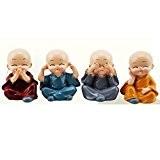 caxmtu 1joli petit Kungfu Moines maitréya Bouddha en résine Bureau bricolage pour voiture Home Decor