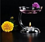 Chandelier de Verre Brûleur à Huile Aromatique Bougeoir Transparent
