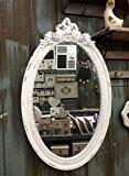 Charmante Maison de Campagne Bois Miroir mural style baroque miroir antique Porte-manteau pour le couloir