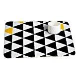 CHENGYANG Décor Carpette durable Paillasson d'Entrée lavable et absorbant tapis de bain Anti-dérapant tapis cuisine Noir 40cm x 60cm