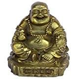 chinois FENGSHUI faite à la main Laiton Bouddha Maitreya tenant WU LOU décoré Bronze figurine Sculpture Statue de décoration Ornement ...