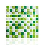 cocotik 25,4x 25,4cm de haute qualité anti-mold Peel et Stick pour carrelage mural carré en vert (10)