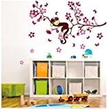Colorfulworld Singe & Sakura Fleurs de Cerisier Sticker mural taille 50* 70cm