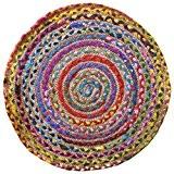 Commerce équitable Tapis rond tressé multicolore coton/jute matériaux recyclés, Tissu, multicolore, 60cm Diameter