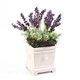 Composition florale artificielle en pot de céramique, lavande et sedum, 30 cm - Fleur artificielle / Lavande artificielle - artplants