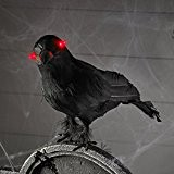 Corbeau Noir d'Halloween aux Yeux LED Rouges à Piles de Lights4fun