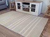 Coton naturel & jute gris Triple Blanc Tapis de couloir à rayures 70cm x 200cm