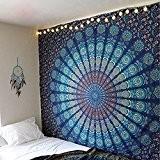 Couleur?: Bleu Thème Taille Double Mandala mur tapisserie tapisseries, Paon, psychédélique indien Tapisserie de Bohème Parure de lit, mur, imprimé ...