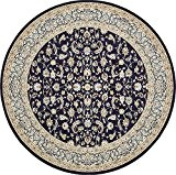 Country 3 m. traditionnel sculpté par 3 m. (10 'x 10') Tapis rond Nain Zone Design Bleu marine