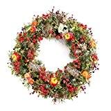Couronne hivernale artificielle avec pommes, baies, pommes de pin, lierre, enneigée, Ø 35 cm - couronne décorative / couronne de ...