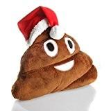 Coussin Emoticone Merde Noel | Emoji Tas de Caca avec Chapeau de Noel
