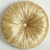 Coussin imitation soie SUOLANDUO rond 15,7 cm de diamètre avec garnissage 100% Polyester Doré-WZ05–C