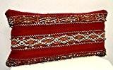 Coussin pour salon fait main en tapis  berbère, de laine tissé main au Maroc (rembourré)- Di 42 L 42 ...