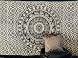 Couvre-lit indien Hippie Gypsy Couverture Bohème ou Déco de chambre 100% coton imprimé à la main Mandala Tapisserie de mur ...