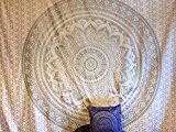 Couvre-lit indien hippie Gypsy Housse Bohème ou Déco 100% coton imprimé à la main Mandala Tapisserie murale à suspendre de ...