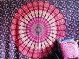 Couvre-lit indien Hippie Gypsy Housse Bohème ou Résidence Deco 100% coton main bloc Imprimé Mandala Imprimé Tapisserie de mur Couvre-lit ...