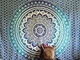 Couvre-lit indien Hippie Gypsy Style Bohème, Décoration de chambre 100% coton imprimé à la main, Tapisserie murale ou drap de ...