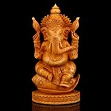 craftvatika Conch Ganesha Idol hindou Ganesh Statue en bois fait main Inde sculpture Éléphant Face cadeau Diwali