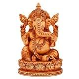 craftvatika de Seigneur Ganesh statue sculpture en bois fait main Succès de Dieu Ganesha Assis Sur Lotus Home Decor cadeaux