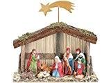 Crèche de Noël (10pièces) avec figurines en porcelaine peints