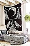 Crying Wolf de la lune tapisserie murale Bohême drap de lit ethnique art mur, Mandala indien Tapisserie, Hippie Tapisserie, Bohemian ...